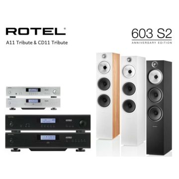 Rotel A11 Tribute + CD11 Tribute + Bowers & Wilkins 603 S2